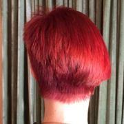 asymmetrical haircut seen from the rear